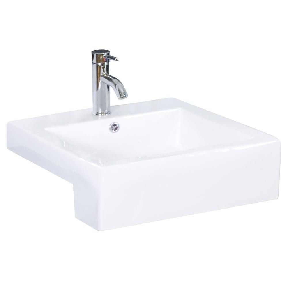 American Imaginations 20-inch W x 20-inch D Semi-Recessed Rectangular Vessel Sink in White with Brushed Nickel