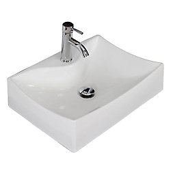 American Imaginations 21 1/2-inch W x 16-inch D Wall-Mount Rectangular Vessel Sink in White with Chrome