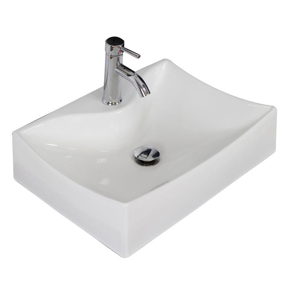 21 1/2-inch W x 16-inch D Wall-Mount Rectangular Vessel Sink in White with Brushed Nickel