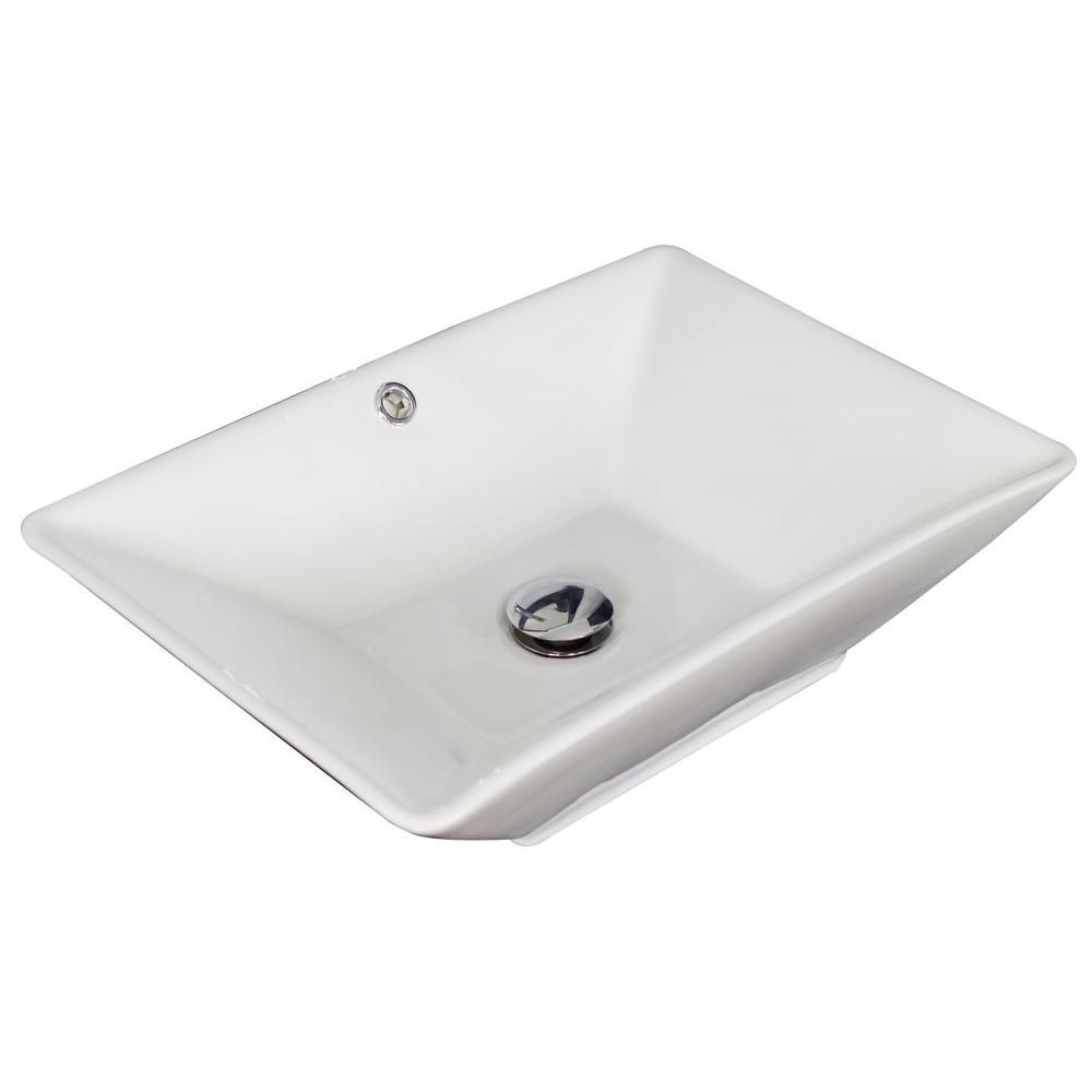 21 1/2-inch W x 15-inch D Rectangular Vessel Sink in White with Brushed Nickel