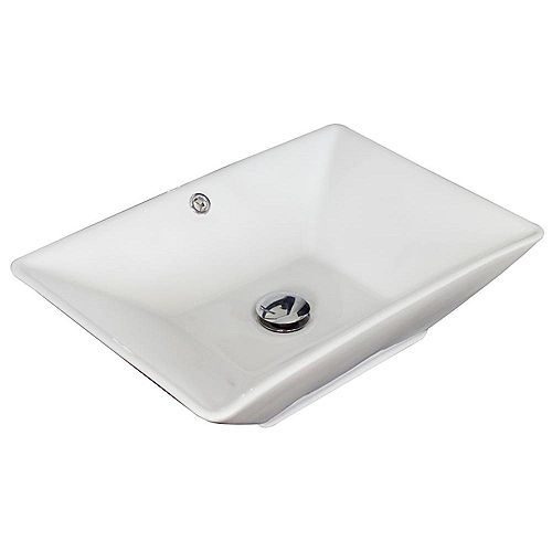 American Imaginations 21 1/2-inch W x 15-inch D Rectangular Vessel Sink in White with Brushed Nickel
