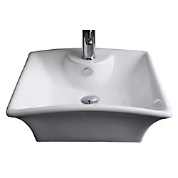 American Imaginations 20-inch W x 17-inch D Rectangular Vessel Sink in White with Chrome