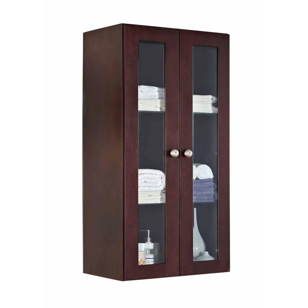 24 In. W X 48 In. H Transitional Birch Wood-Veneer Wall Curio In Coffee - Chrome