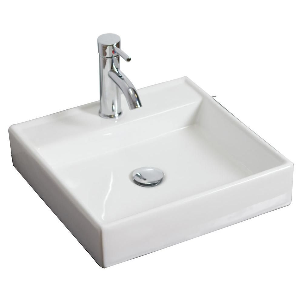 17 1/2-inch W x 17 1/2-inch D Wall-Mount Square Vessel Sink in White with Chrome
