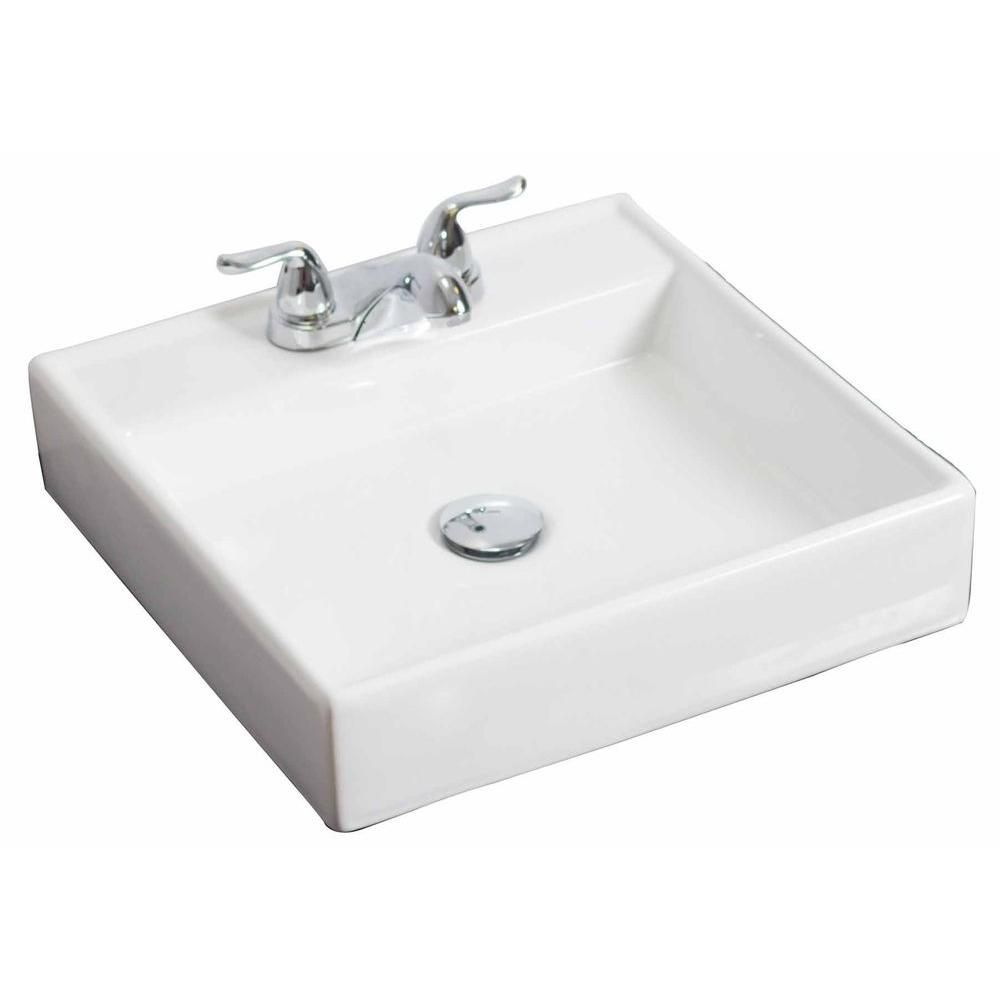 American Imaginations 17 1/2-inch W x 17 1/2-inch D Wall-Mount Square Vessel Sink in White with Chrome