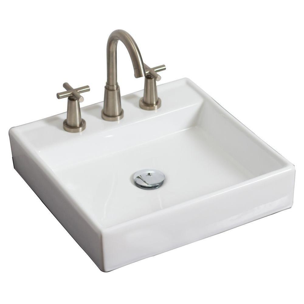 17,5 po W x 17.5 po navire mont d mur place in white couleur pour 8 po robinet oc - chrome