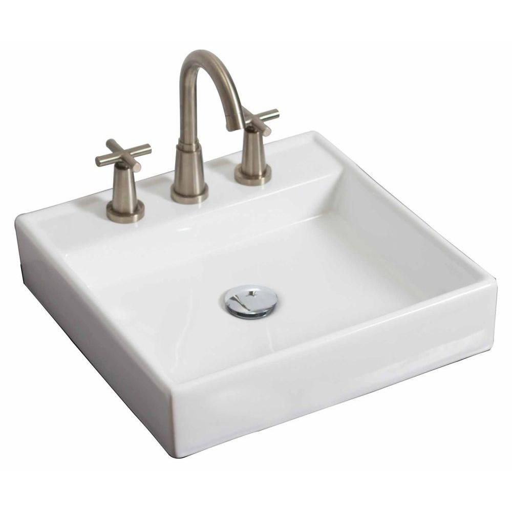 American Imaginations 17 1/2-inch W x 17 1/2-inch D Wall-Mount Square Vessel Sink in White with Brushed Nickel