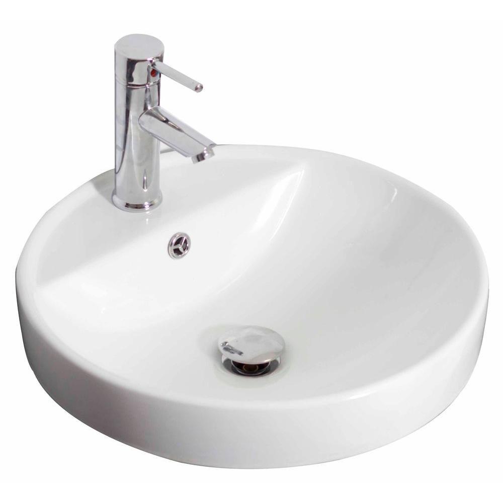 18,5 po W x 18.5 po D drop in navire ronde de couleur blanche pour robinet simple trou - nickel b...