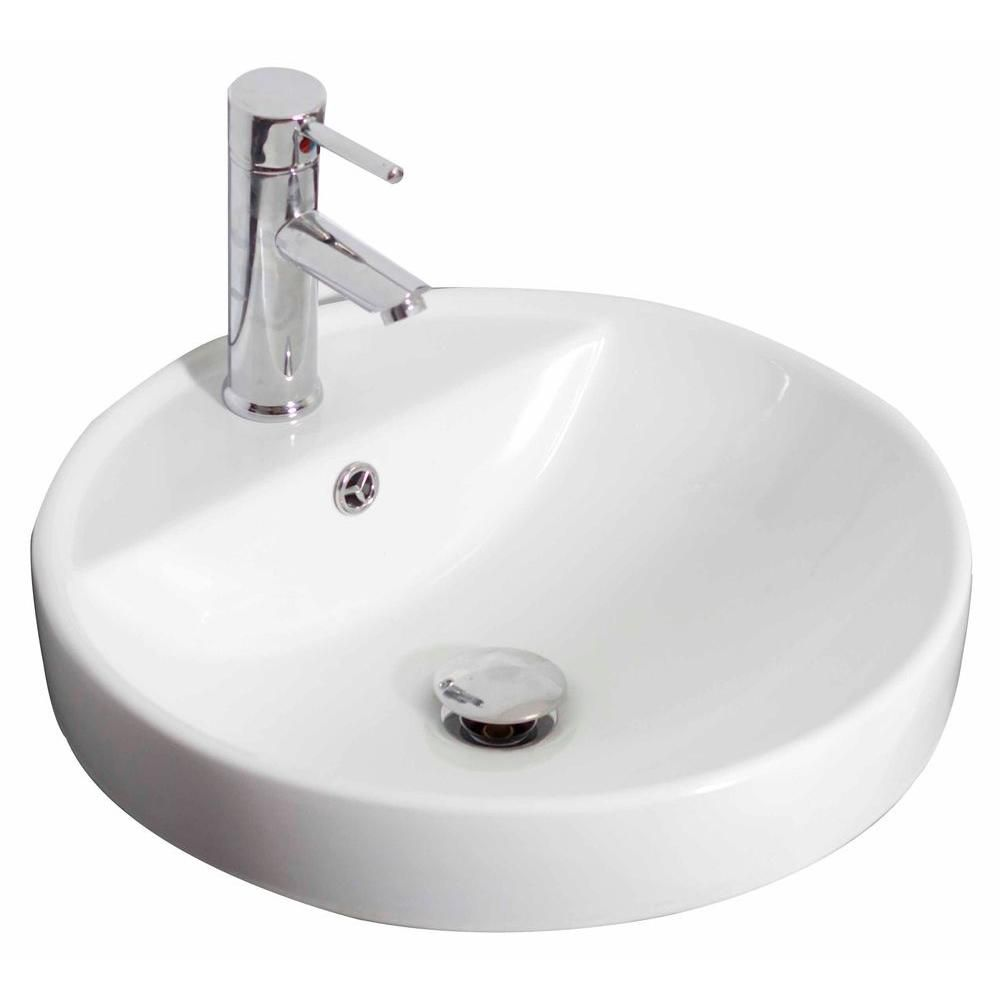 18 1/2-inch W x 18 1/2-inch D Drop-In Round Vessel Sink in White with Brushed Nickel