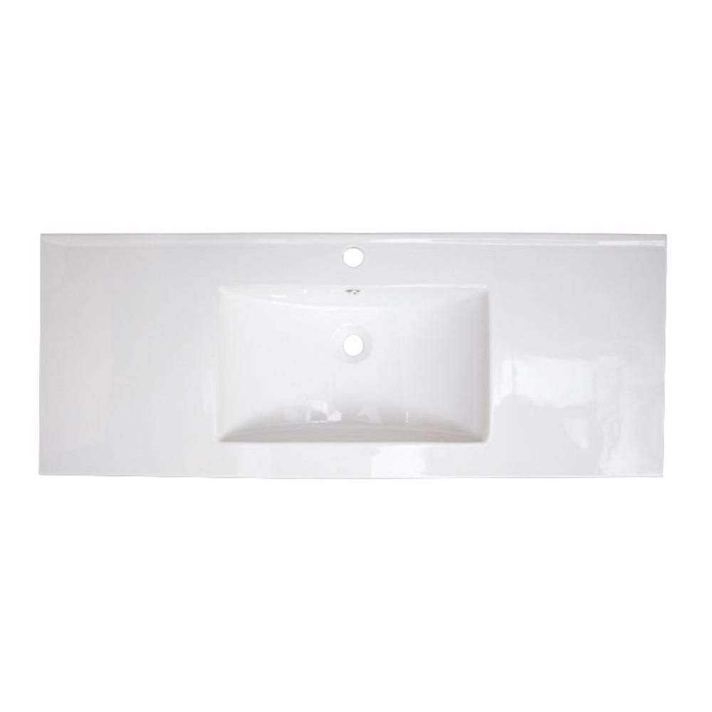 49-inch W x 22-inch D Ceramic Top in White for Single Hole Faucet in Brushed Nickel
