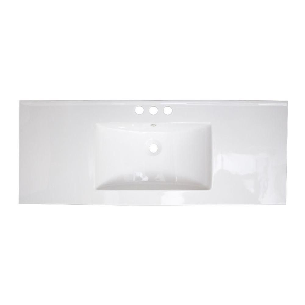 American Imaginations 49-inch W x 22-inch D Ceramic Top in White for 8-inch O.C. Faucet in Chrome