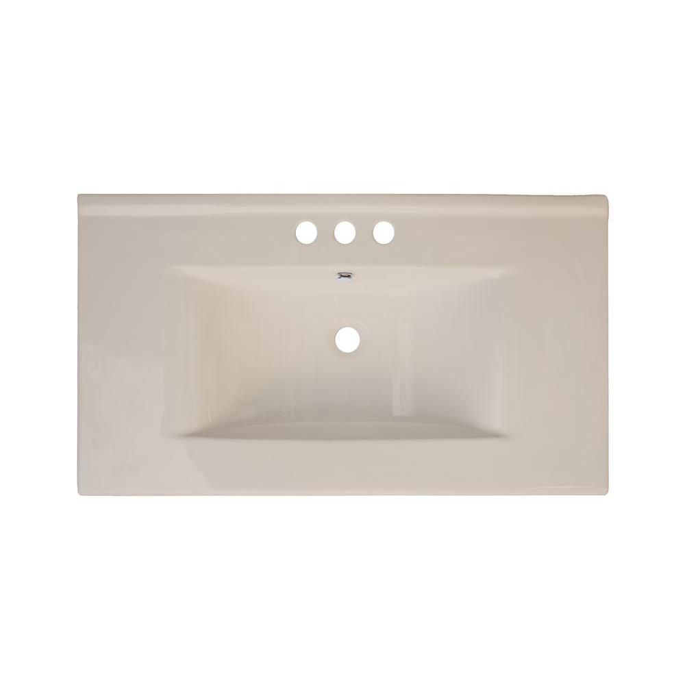 36-inch W x 20-inch D Ceramic Top in Biscuit for 4-inch O.C. Faucet in Brushed Nickel