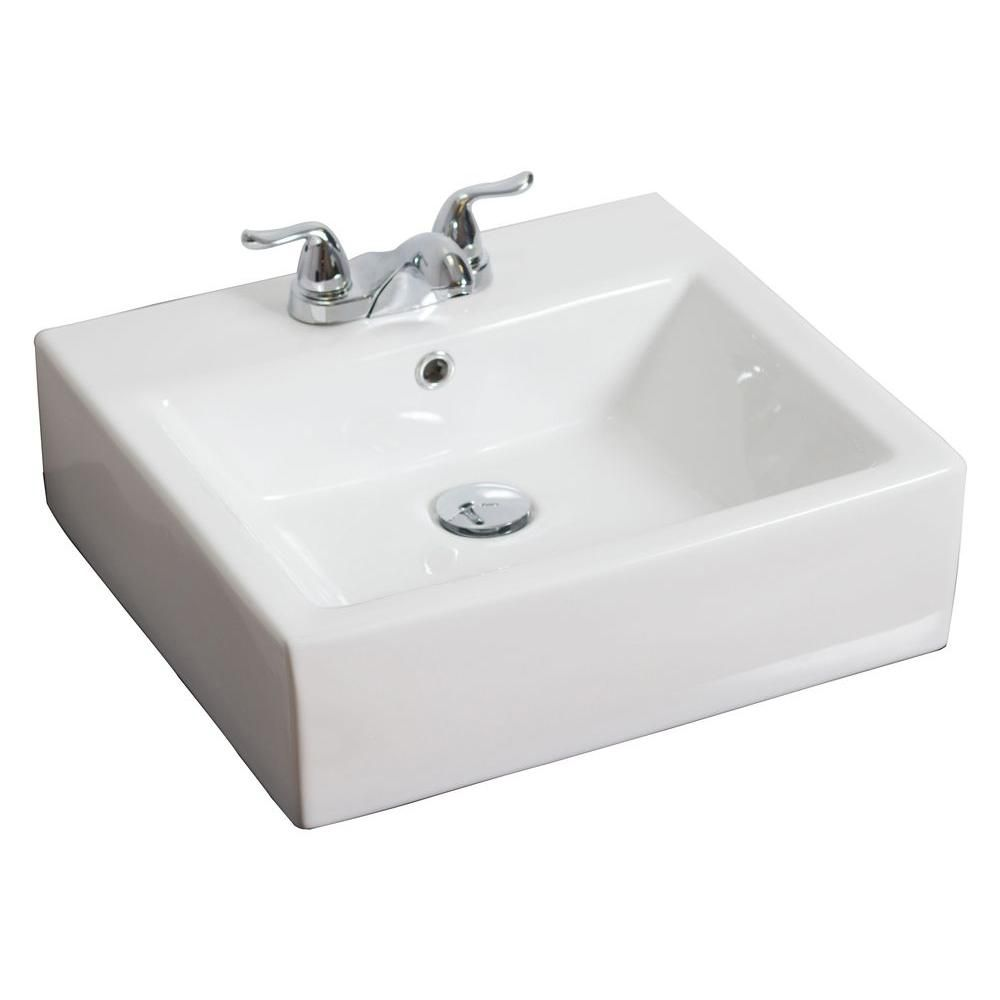 20-inch W x 18-inch D Rectangular Vessel Sink in White with Brushed Nickel