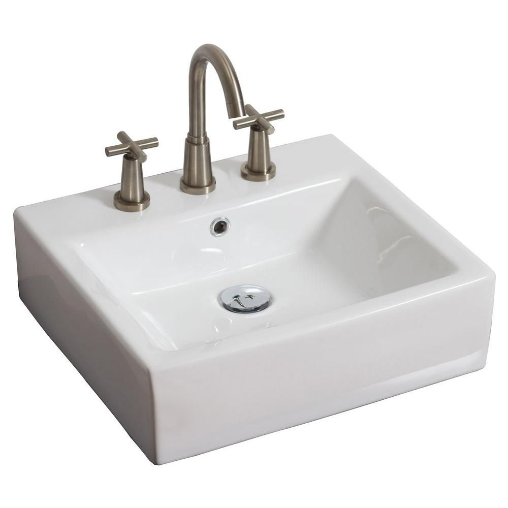 20-inch W x 18-inch D Rectangular Vessel Sink in White with Chrome
