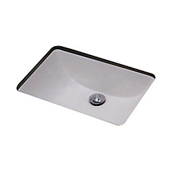 American Imaginations 19-inch W x 14-inch D Rectangular Undermount Sink in White with Glaze Finish in Chrome