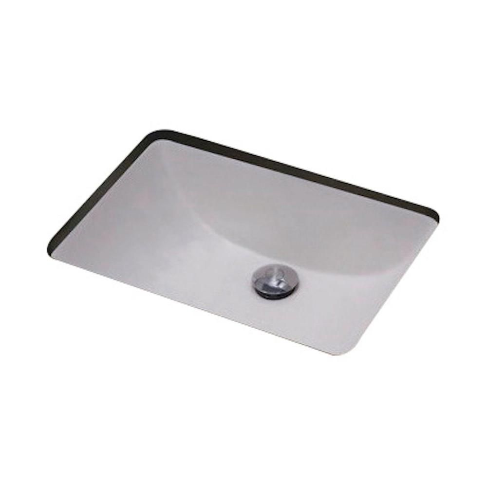 19-inch W x 14-inch D Rectangular Undermount Sink in White with Glaze Finish in Brushed Nickel