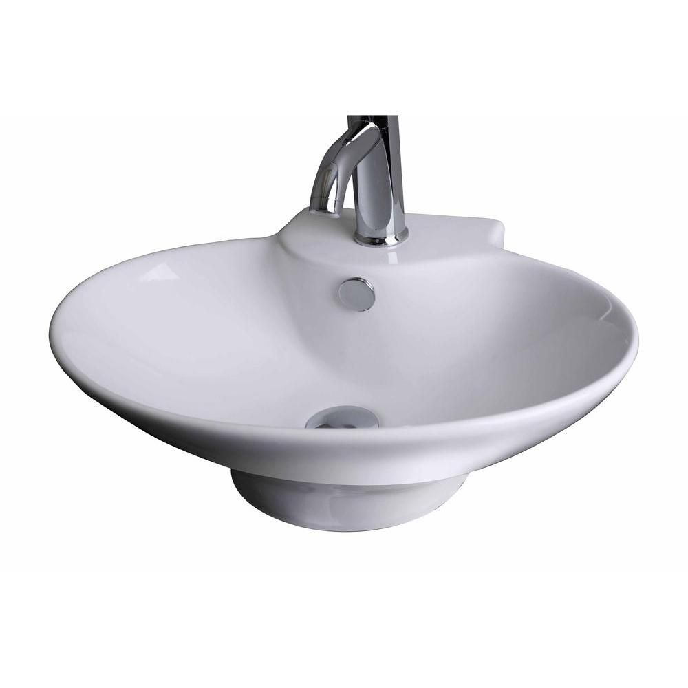 21-inch W x 15-inch D Wall-Mount Oval Vessel Sink in White with Brushed Nickel
