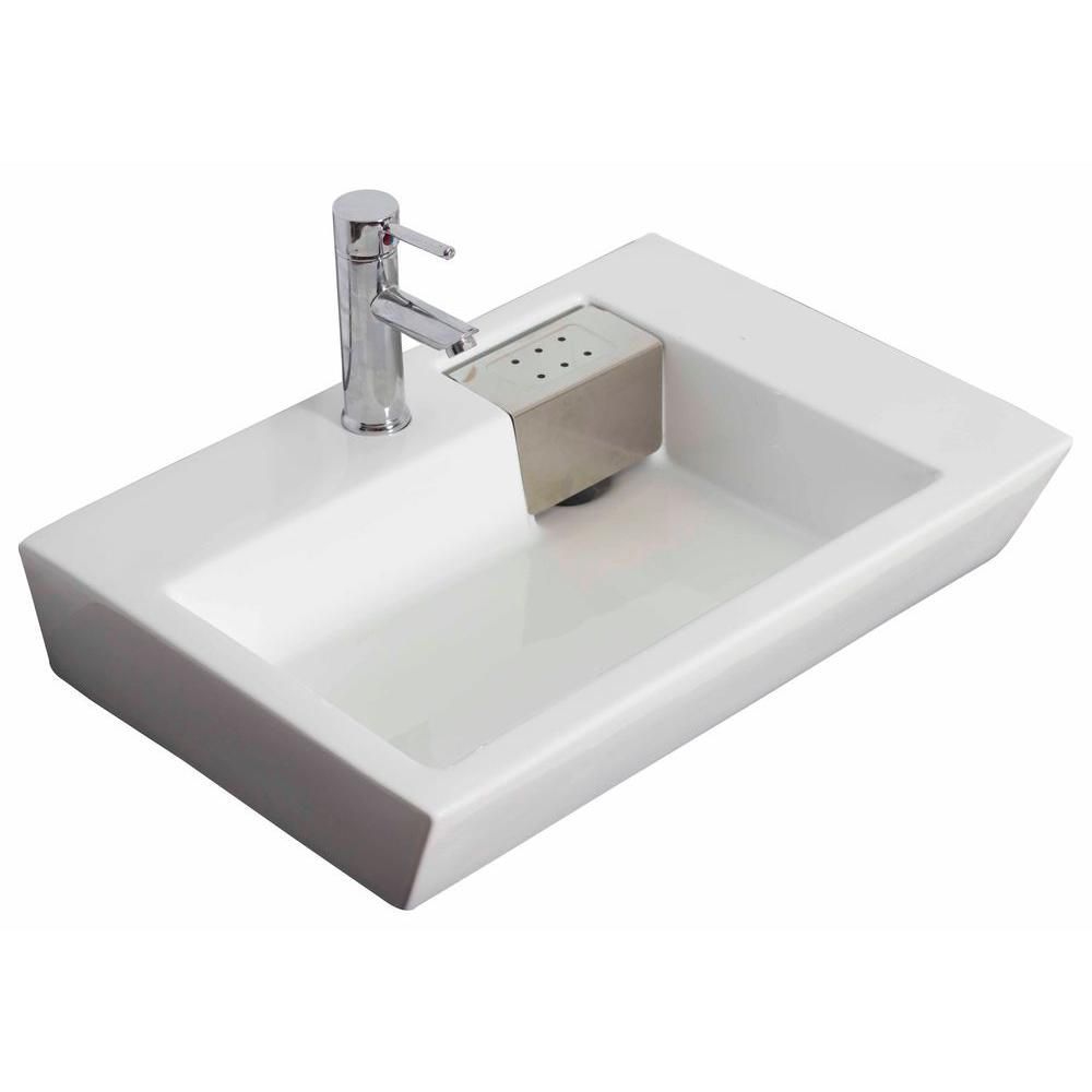 26-inch W x 18-inch D Wall-Mount Rectangular Vessel Sink in White with Brushed Nickel
