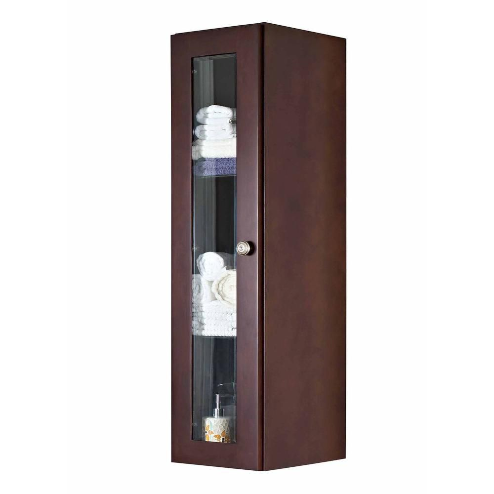 12 In. W X 48 In. H Transitional Cherry Wood-Veneer Wall Curio In Coffee - Brushed Nickel AI-2-1138 Canada Discount
