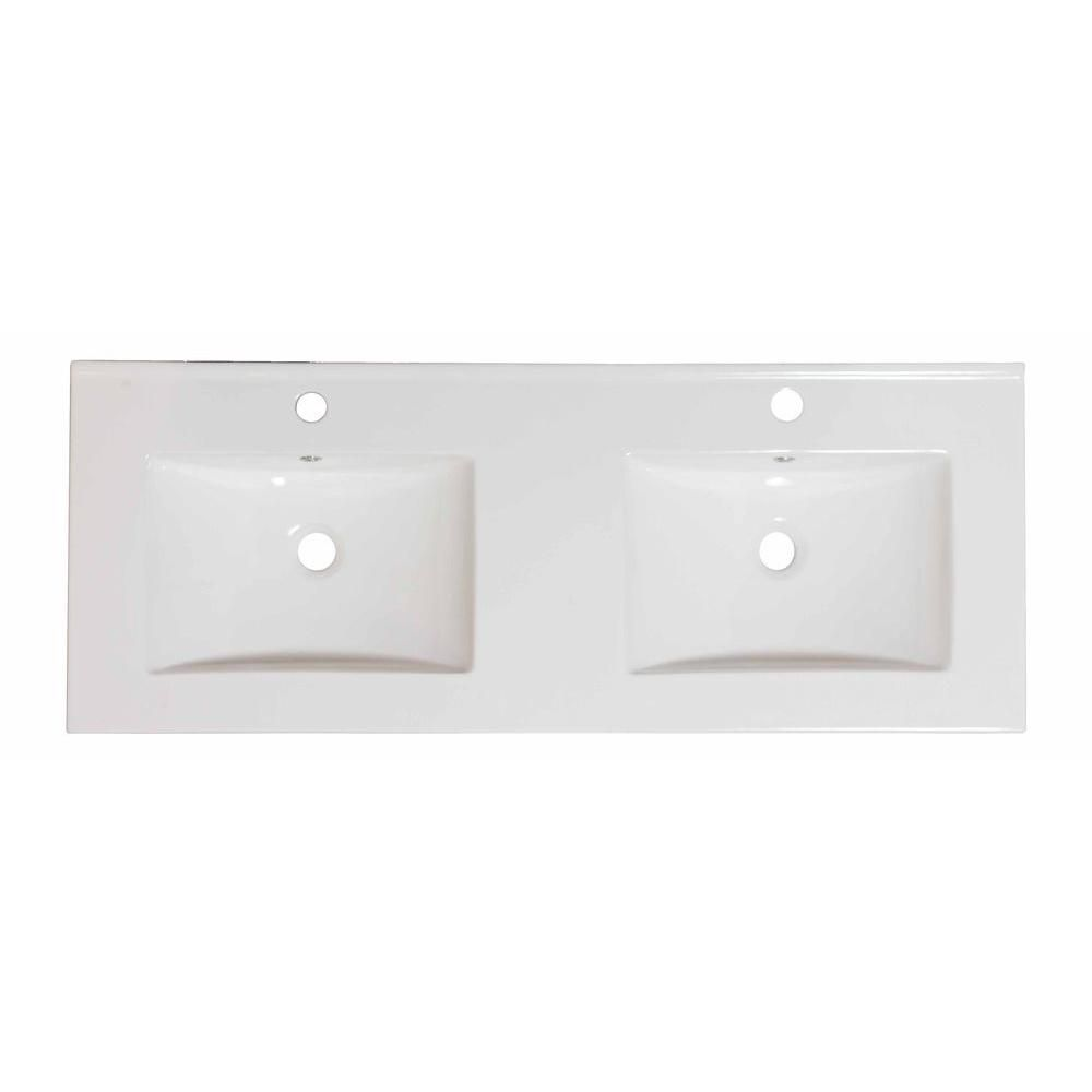 60-inch W x 18 1/2-inch D Ceramic Top in White for Single Hole Faucet in Brushed Nickel
