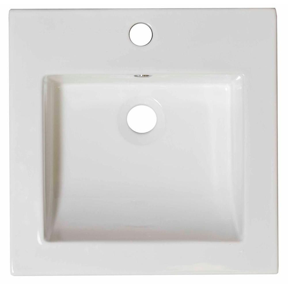 21 1/2-inch W x 18-inch D Ceramic Top in White for Single Hole Faucet in Brushed Nickel