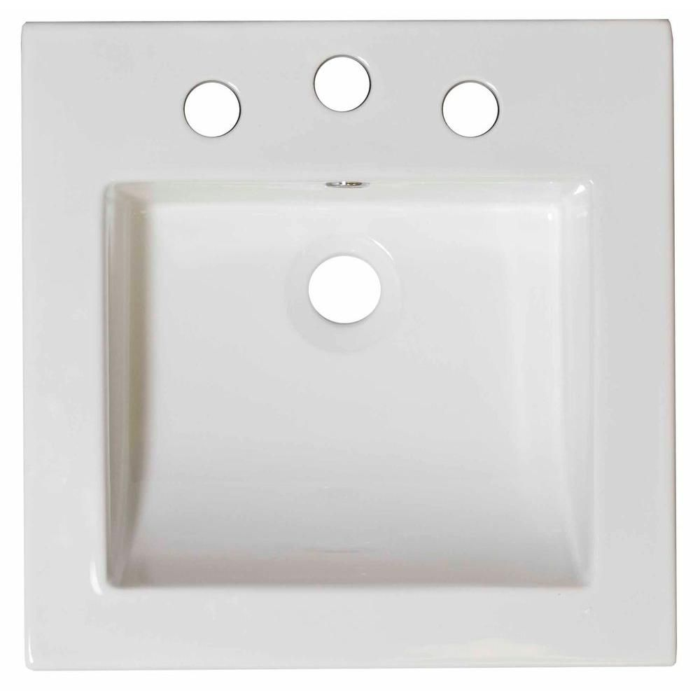 21 1/2-inch W x 18-inch D Ceramic Top in White for 4-inch O.C. Faucet in Brushed Nickel