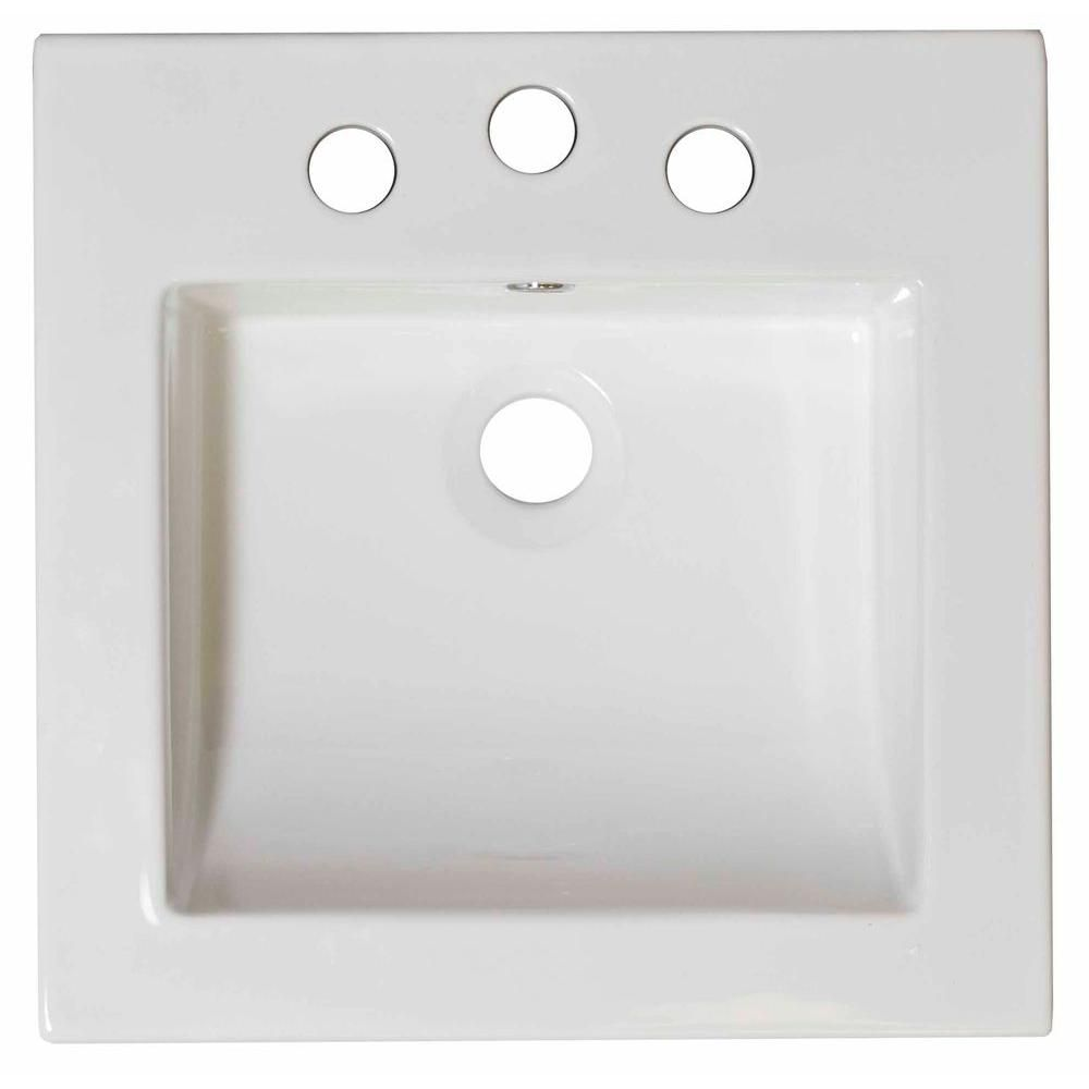 21 1/2-inch W x 18-inch D Ceramic Top in White for 8-inch O.C. Faucet in Brushed Nickel