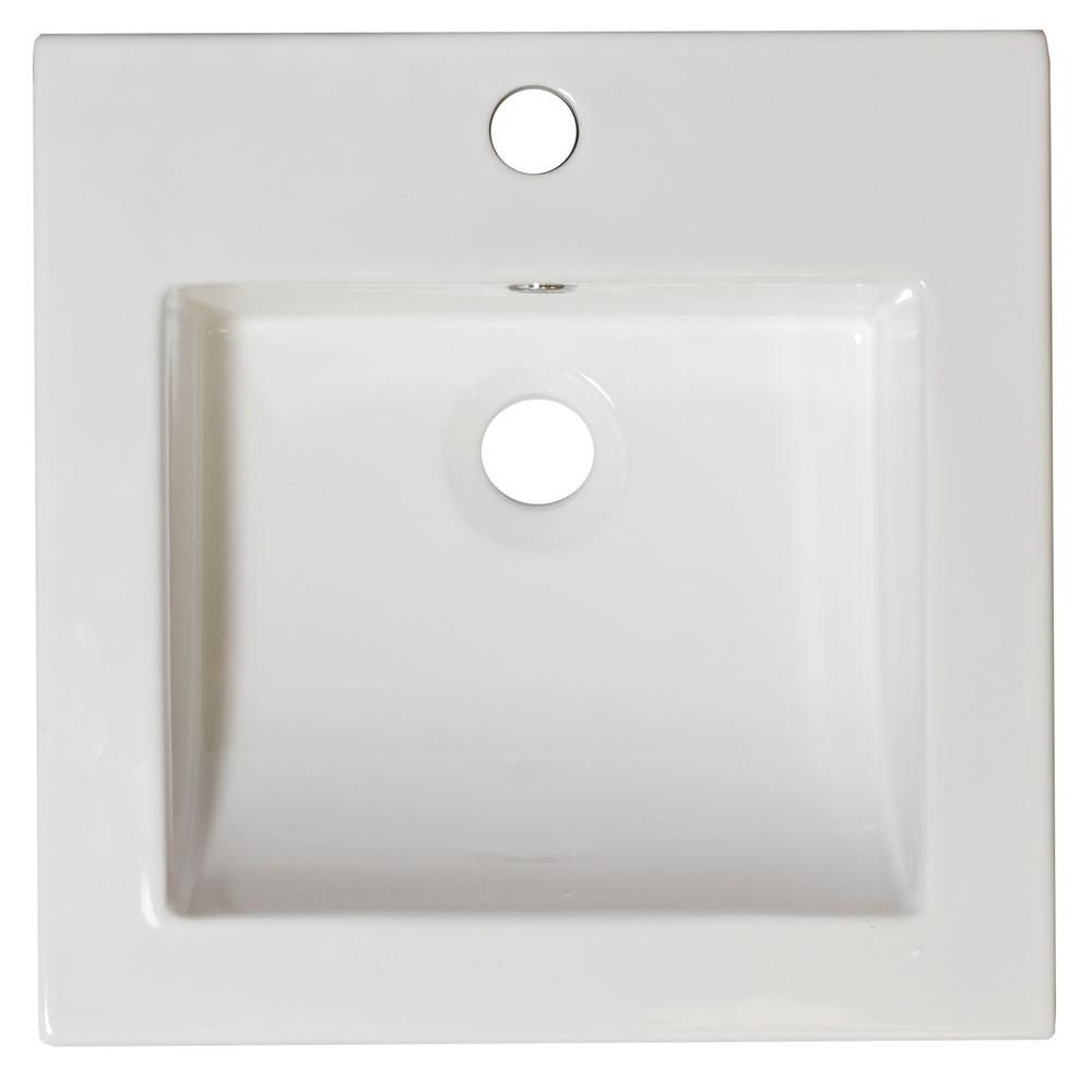 16 1/2-inch W x 16 1/2-inch D Ceramic Top in White for Single Hole Faucet in Chrome