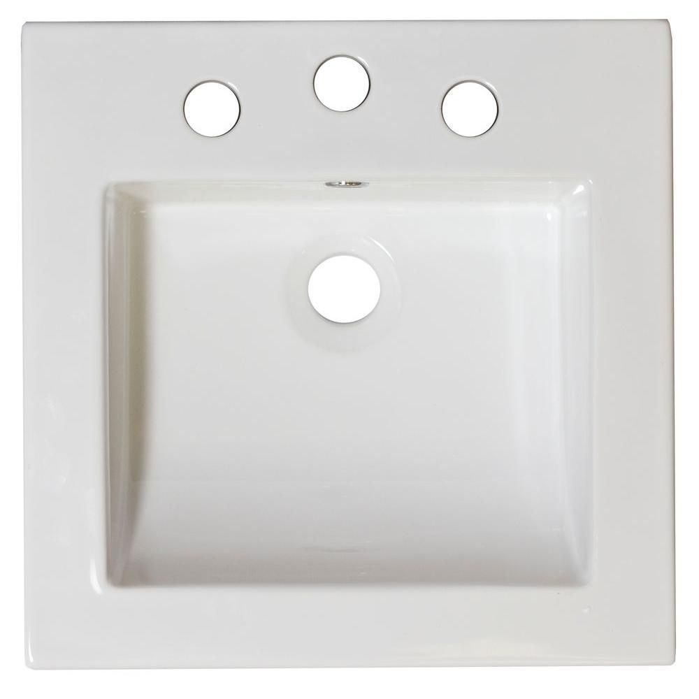 16 1/2-inch W x 16 1/2-inch D Ceramic Top in White for 4-inch O.C. Faucet in Brushed Nickel