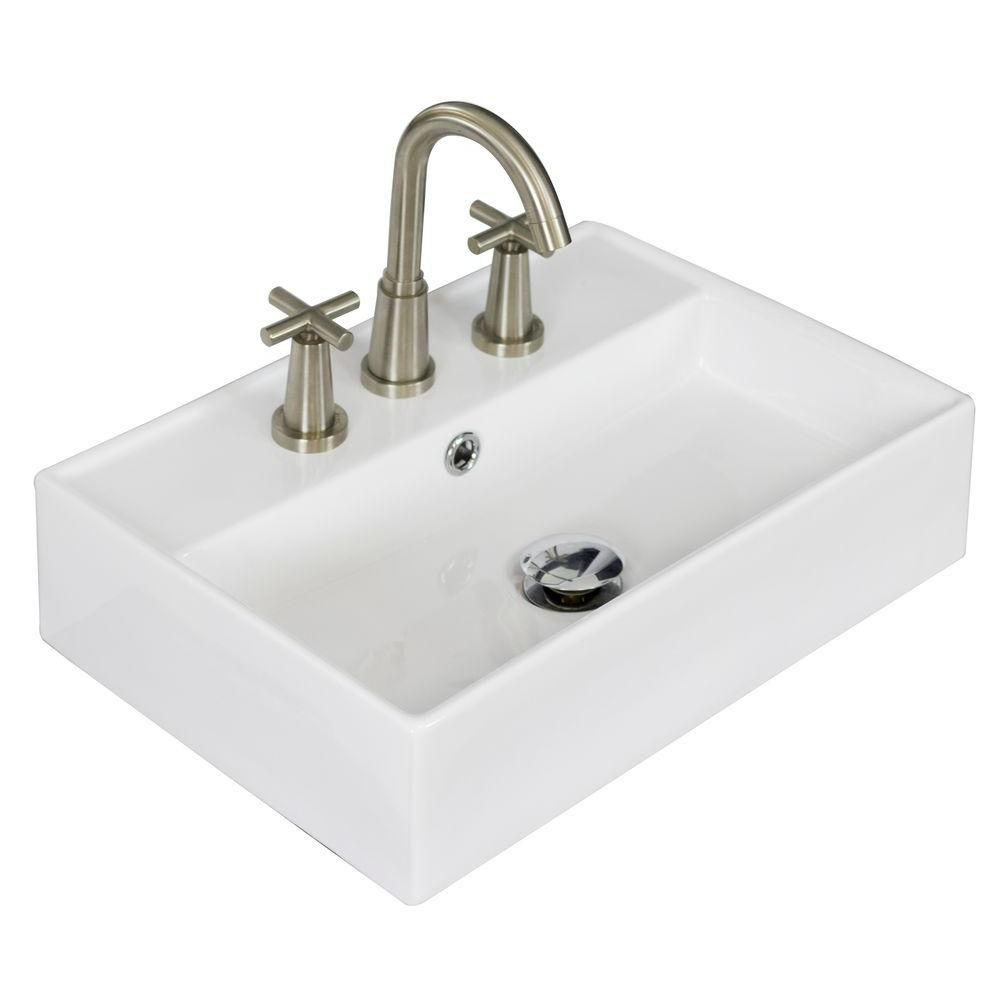 20-inch W x 14-inch D Rectangular Vessel Sink in White with Brushed Nickel