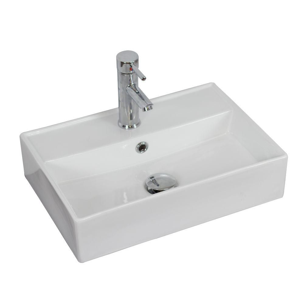 20-inch W x 14-inch D Wall-Mount Rectangular Vessel Sink in White with Brushed Nickel