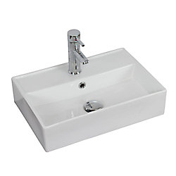 American Imaginations 20-inch W x 14-inch D Wall-Mount Rectangular Vessel Sink in White with Brushed Nickel