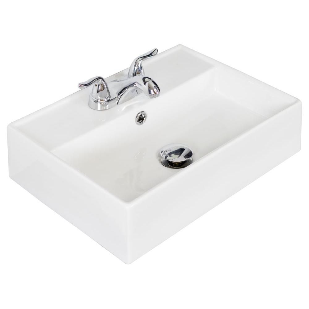 American Imaginations 20-inch W x 14-inch D Wall-Mount Rectangular Vessel Sink in White with Chrome
