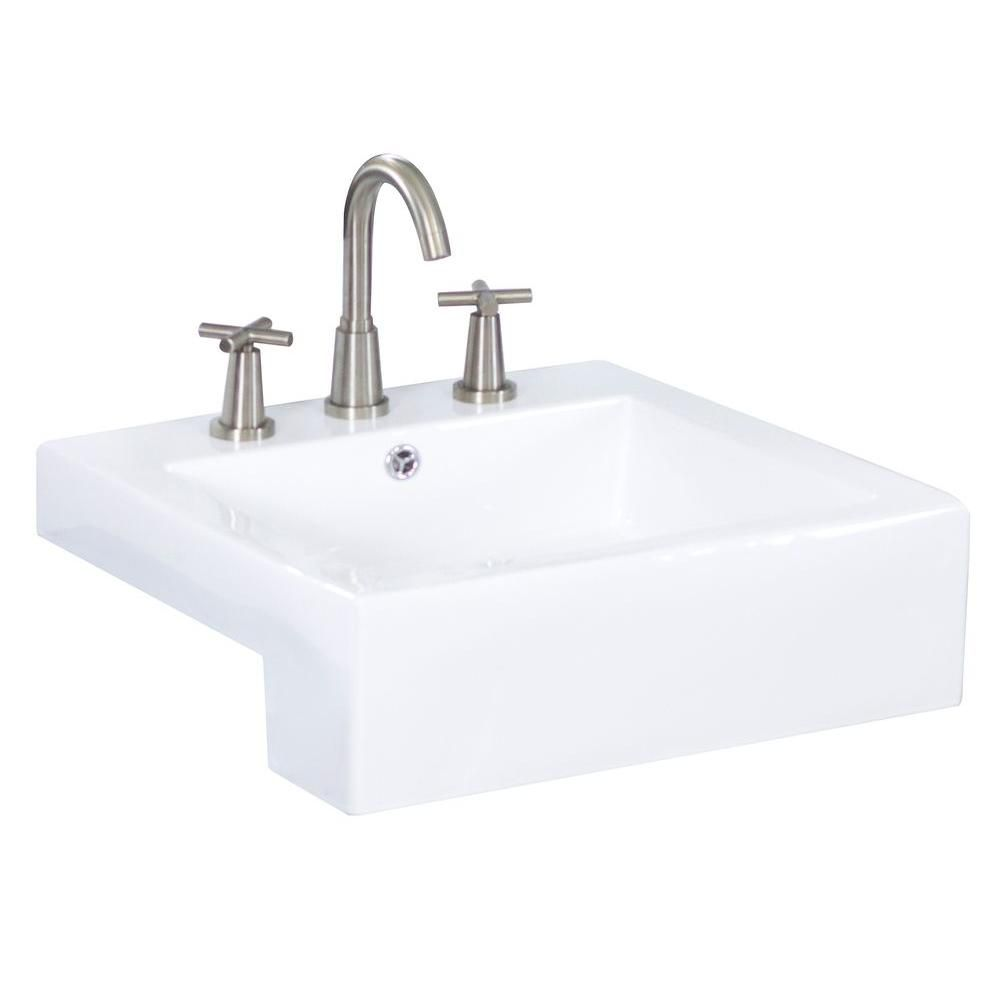 20-inch W x 20-inch D Semi-Recessed Rectangular Vessel Sink in White with Chrome