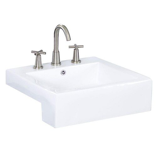 American Imaginations 20-inch W x 20-inch D Semi-Recessed Rectangular Vessel Sink in White with Chrome
