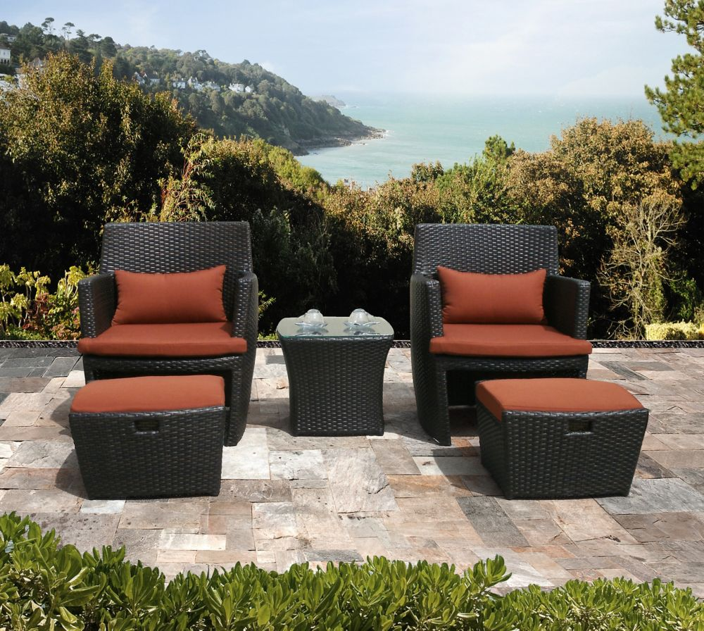 Bandio 5pc Outdoor Club Chair Set