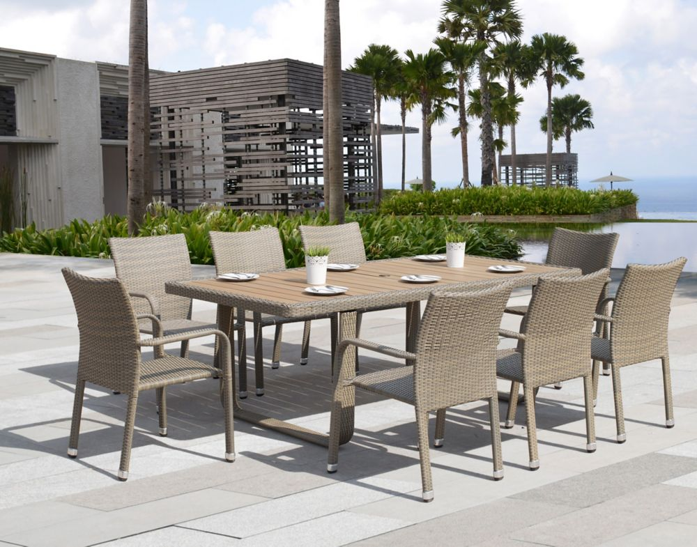 sirio ashena 9 piece outdoor dining set the home depot canada