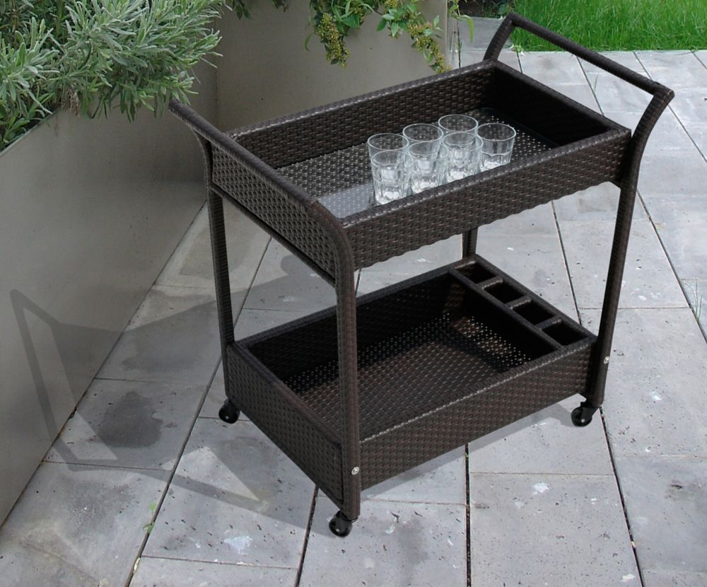 SAHARA HAND-CRAFTED RESIN WICKER SERVING TROLLEY