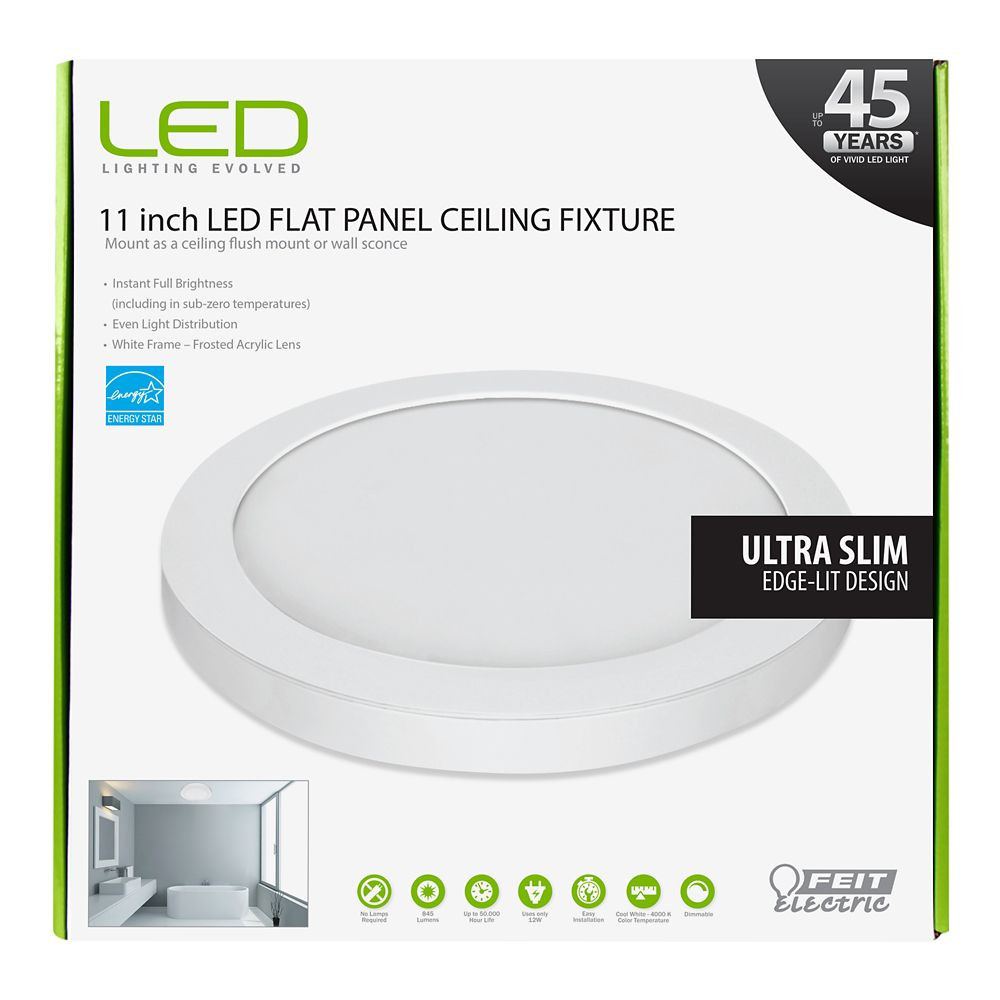 Feit 11 Inch White Integrated Led Round Edge Flushmount Light Fixture The Home Depot Canada