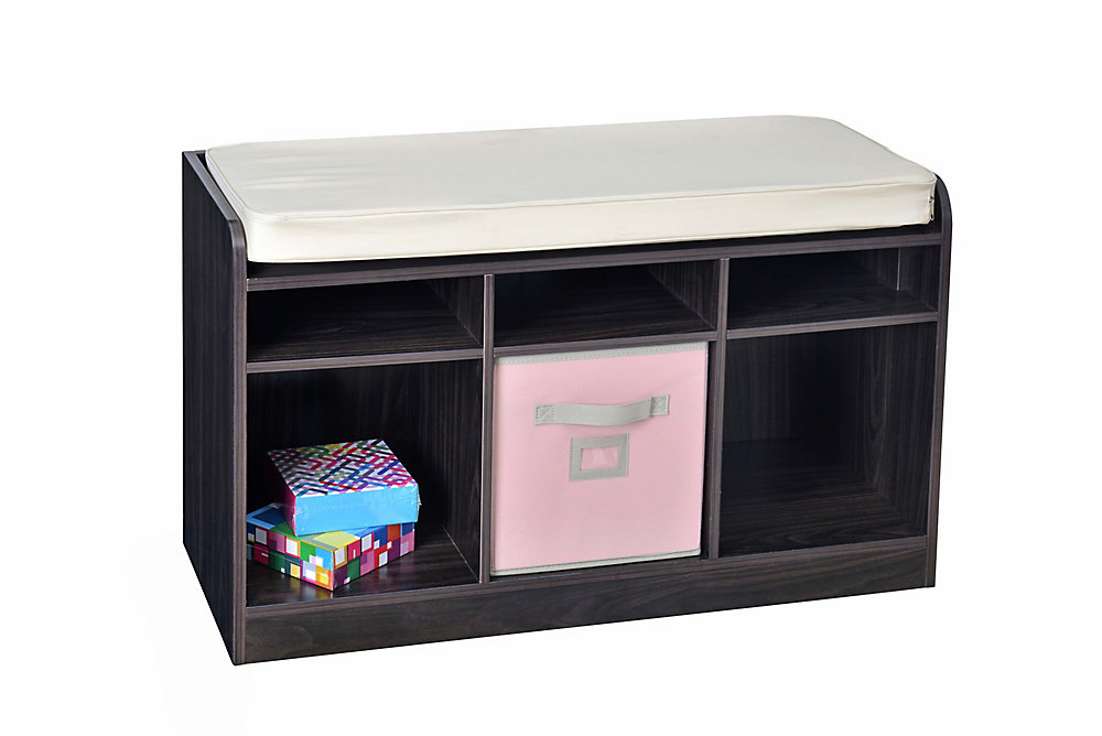 6-Cube Storage Bench in Espresso with White Pillow Top