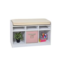 THD 6-Cube Storage Bench in White with White Pillow Top
