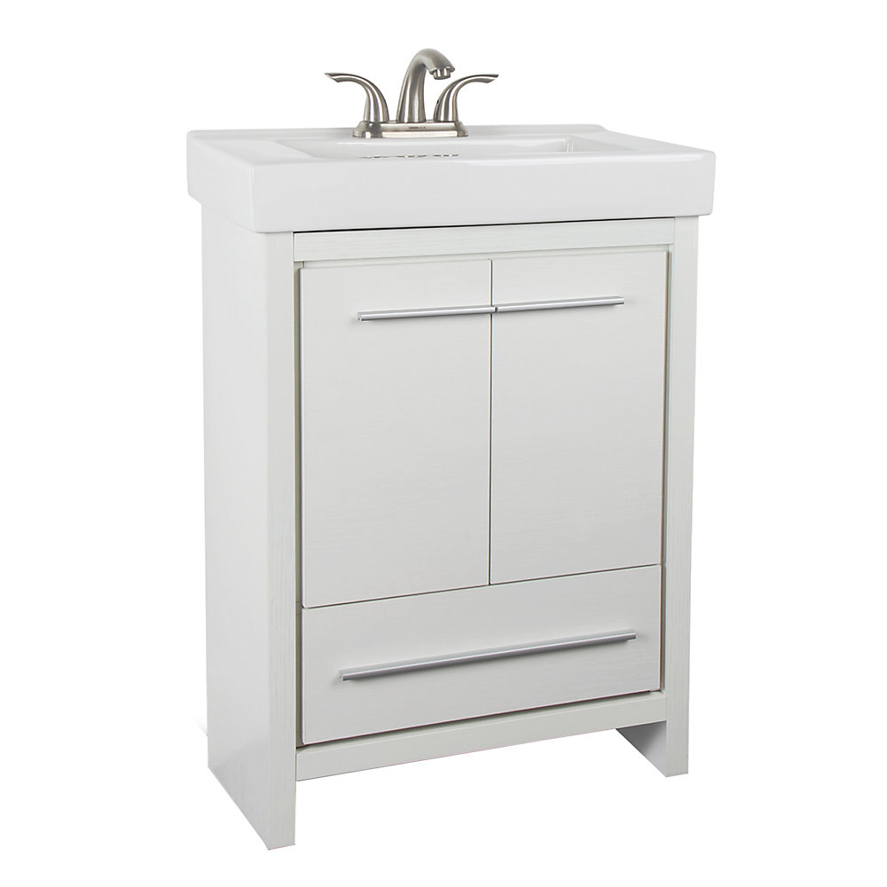 Romali 24-inch W 1-Drawer 2-Door Freestanding Vanity in White With Ceramic Top in White