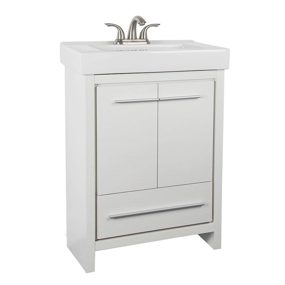 Glacier Bay Romali 24 Inch W 1 Drawer 2 Door Freestanding Vanity In White With Ceramic Top