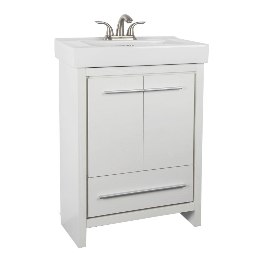 GLACIER BAY Romali 24-inch W 1-Drawer 2-Door Freestanding Vanity in White With Ceramic Top in White