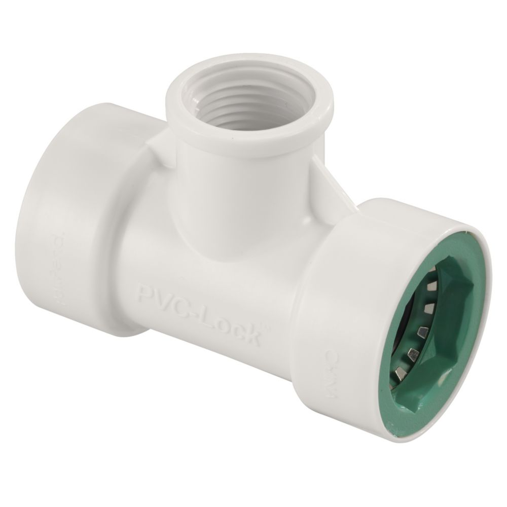 3/4 Inch   x 1/2 Inch   FPT PVC-Lock Tee
