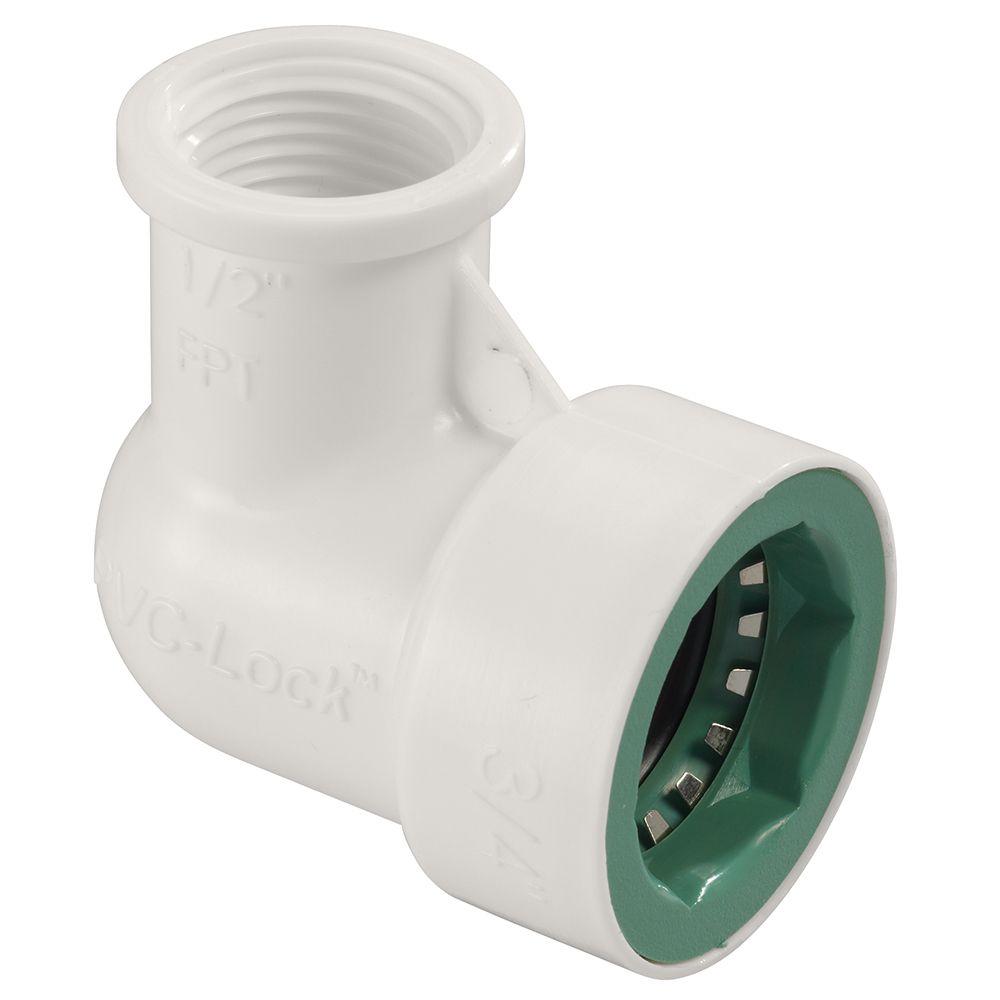 3/4 Inch   x 1/2 Inch   FPT PVC-Lock Elbow