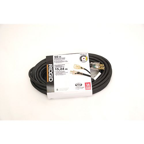 RIDGID OUTDOOR EXTENSION CORD 14 GA. 50FT SINGLE LITED END