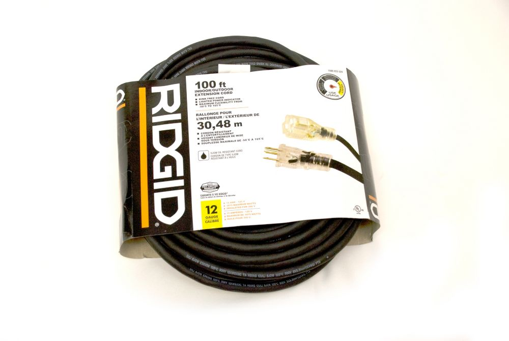 Outdoor Extension Cord 12-3 100FT Single Lite