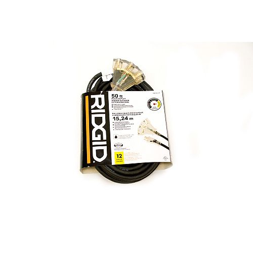RIDGID OUTDOOR EXTENSION CORD 12 GA. 50FT FANTAIL LITED END