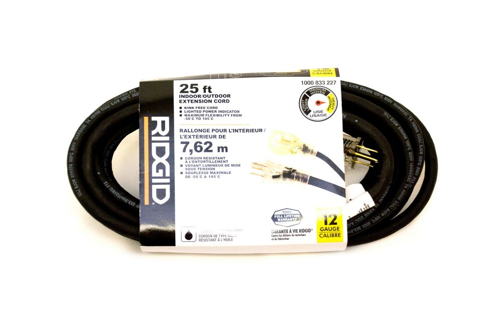 Outdoor Extension Cord 12-3 25FT Single Lite